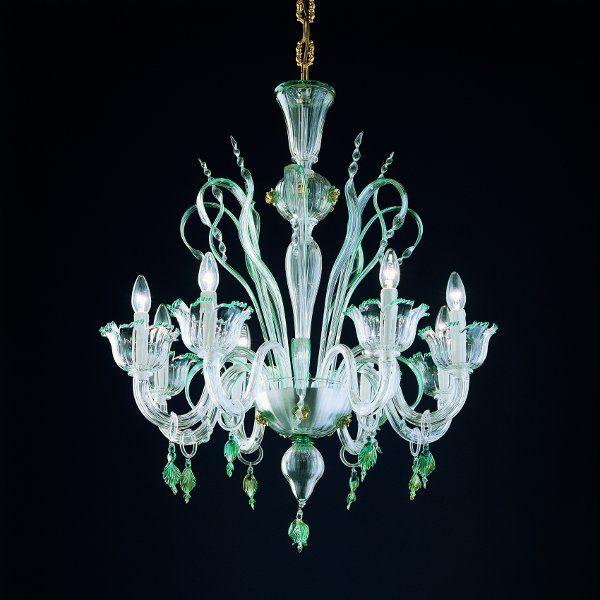 Der Kronleuchter 7055 K8 in kristall-grün-gold