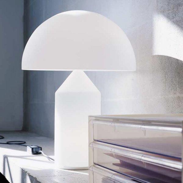 Atollo Tischleuchte L Opalglas weiß