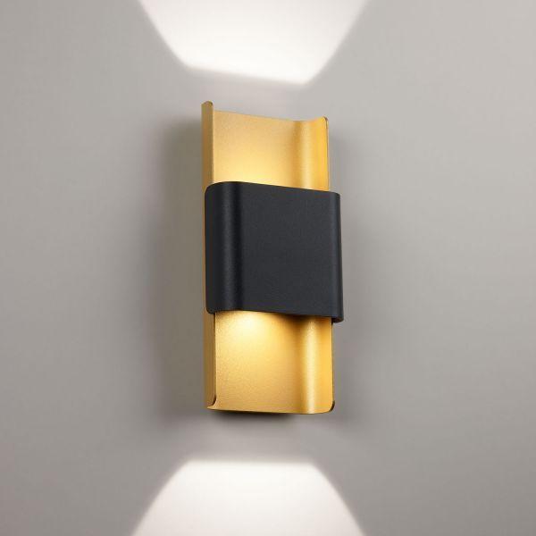 Deltalight, Want it L dimmbare Wandleuchte, Farbe schwarz-vergoldet mat