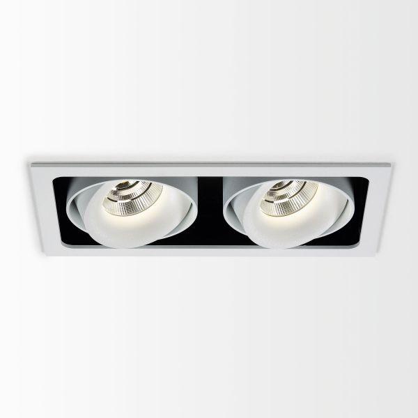 Deltalight, Minigrid in 2 Frame Deckeneinbaustrahler mit Soft Dim, Farben weiß-schwarz+weiß
