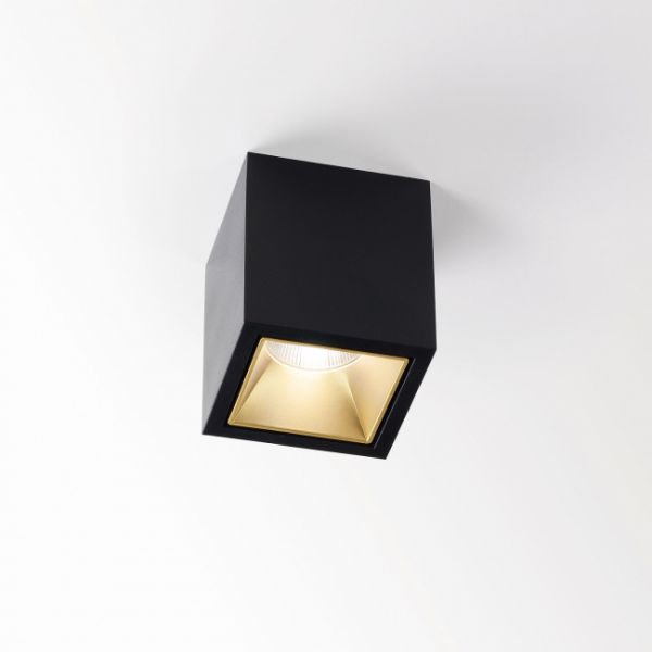 Boxy L LED Aufbaudownlight, schwarz/ gold matt
