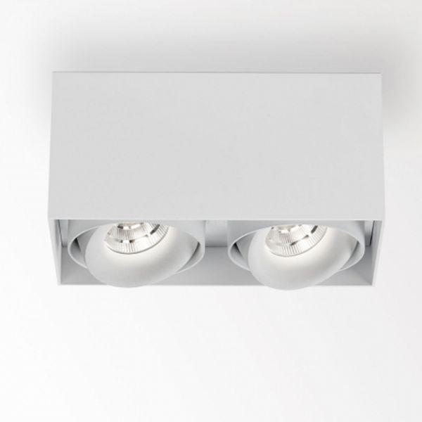 Deltalight, Minigrid on 2 Box dimmbare Deckenanbauleuchte, Farbe weiß+weiß