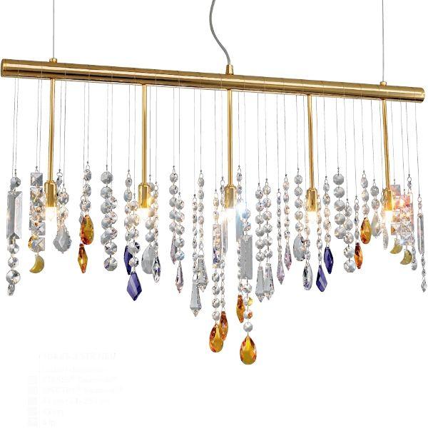 Stretta 5 Hängeleuchte, 24K vergoldet, Kristalle mit violetten und amberfarbenen Elementen