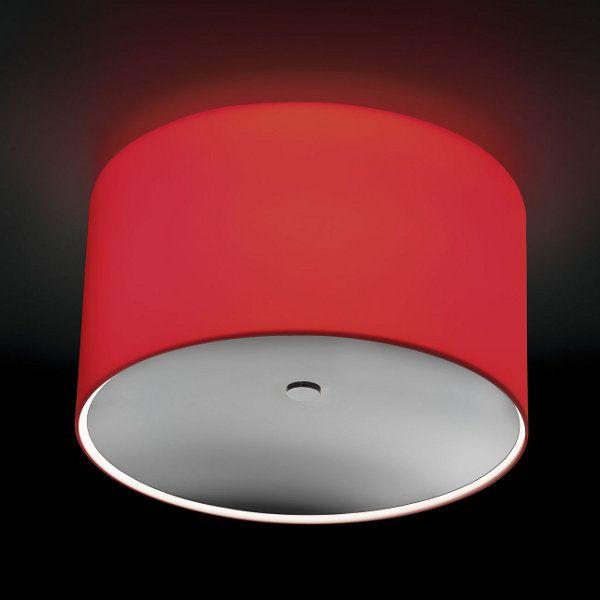 Round PL GLASS Deckenleuchte, rot mit Glaslinse