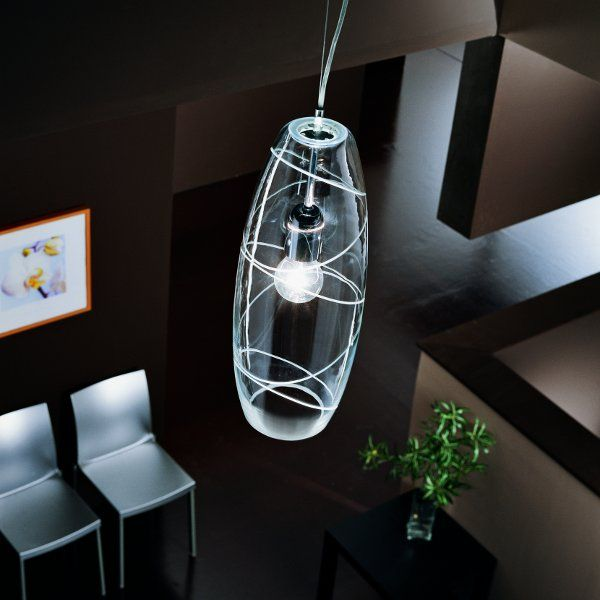 Ein Peroni Lampenschirm in teilsatiniert: kristall mit handgeschliffenen Ringen