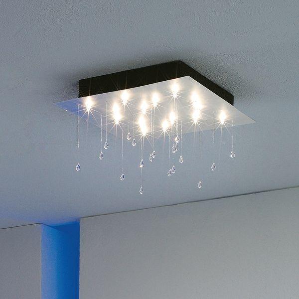 Crystal Rain Quadrat medium Deckenleuchte, Blattaluminium
