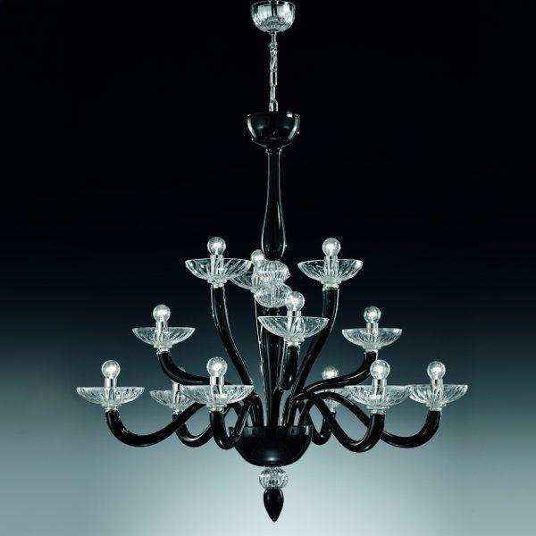 Der Leuchter 8000 K6+3+3 (small) in schwarz/kristall