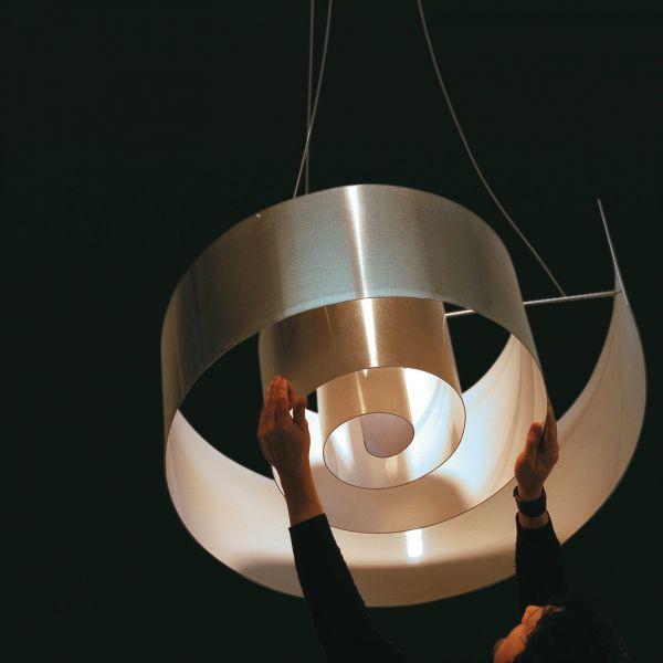 Spiral Pendelleuchte Aluminium/Weiß