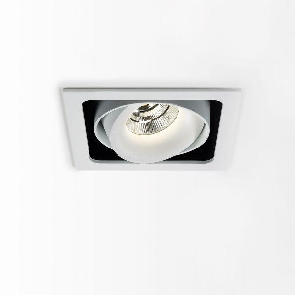 Deltalight, Minigrid in 1 Frame Deckeneinbaustrahler mit Soft Dim,Farben. weiß-schwarz+weiß