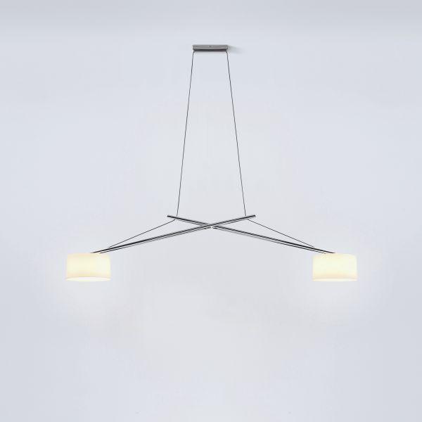 Twin LED Pendelleuchte Aluminium glanzverchromt