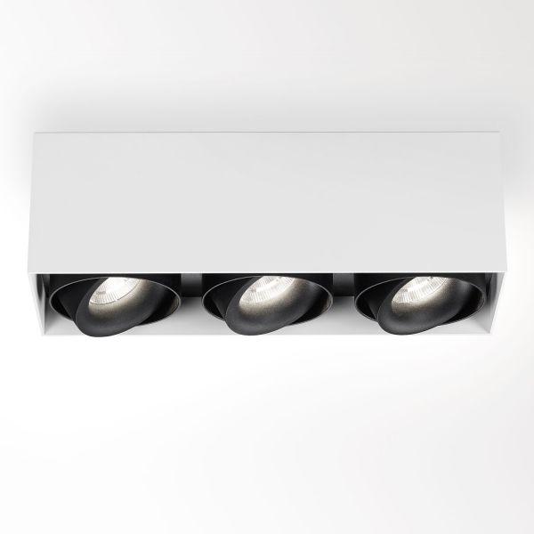 Deltalight, Minigrid on 3 Box dimmbare Deckenanbauleuchte, Farbe weiß+schwarz